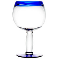 Libbey 92314 Aruba 21 oz. Round Cocktail Glass with Cobalt Blue Rim and Base - 12 / Case