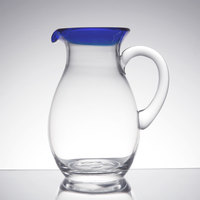 Libbey 92317 Aruba 56 oz. Pitcher with Cobalt Blue Rim - 6/Case