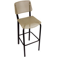 BFM Seating DV590LSBL Devon Sand Black Steel Bar Height Chair with Light Sage Seat and Back