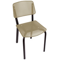 BFM Seating DV490LSBL Devon Sand Black Steel Side Chair with Light Sage Seat and Back