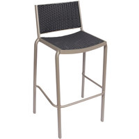 BFM Seating DV551GRTS Cocoa Beach Outdoor / Indoor Stackable Aluminum and Synthetic Wicker Bar Height Chair