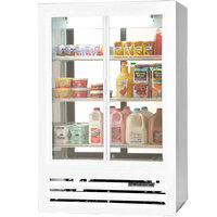 Beverage Air LV17-1-W-54-HD-LED White LumaVue 4 Hinged Glass Door Refrigerated Pass-Through Merchandiser - 17.5 Cu. Ft.