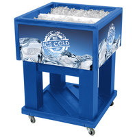 Blue Mini Texas Icer 5015 Insulated Ice Bin / Merchandiser 32 Qt. with Dividers and Drain 23 1/4 inch x 23 1/4 inch