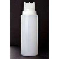 Tablecraft 3263C3 32 oz. SelecTop Wide Mouth Squeeze Bottle with 3 Top Openings - 12 / Pack