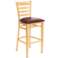 Lancaster Table & Seating Spartan Series Bar Height Metal Ladder Back Chair with Natural Wood Grain Finish and Burgundy Vinyl Seat