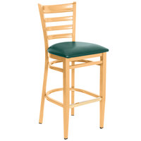 Lancaster Table & Seating Spartan Series Bar Height Metal Ladder Back Chair with Natural Wood Grain Finish and Green Vinyl Seat
