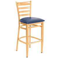 Lancaster Table & Seating Spartan Series Bar Height Metal Ladder Back Chair with Natural Wood Grain Finish and Navy Vinyl Seat