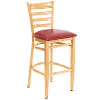 Lancaster Table & Seating Spartan Series Bar Height Metal Ladder Back Chair with Natural Wood Grain Finish and Red Vinyl Seat