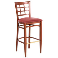 Lancaster Table & Seating Spartan Series Bar Height Metal Window Back Chair with Mahogany Wood Grain Finish and Red Vinyl Seat