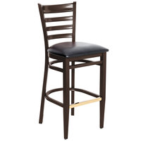 Lancaster Table & Seating Spartan Series Bar Height Metal Ladder Back Chair with Walnut Wood Grain Finish and Black Vinyl Seat