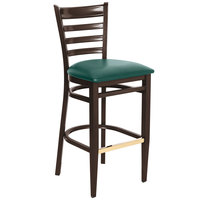 Lancaster Table & Seating Spartan Series Bar Height Metal Ladder Back Chair with Walnut Wood Grain Finish and Green Vinyl Seat