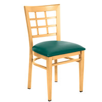 Lancaster Table & Seating Spartan Series Metal Window Back Chair with Natural Wood Grain Finish and Green Vinyl Seat