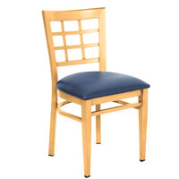 Lancaster Table & Seating Spartan Series Metal Window Back Chair with Natural Wood Grain Finish and Navy Vinyl Seat