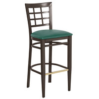 Lancaster Table & Seating Spartan Series Bar Height Metal Window Back Chair with Walnut Wood Grain Finish and Green Vinyl Seat