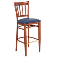 Lancaster Table & Seating Spartan Series Bar Height Metal Slat Back Chair with Mahogany Wood Grain Finish and Navy Vinyl Seat
