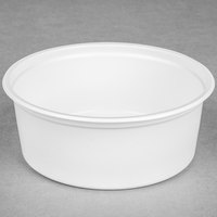 Choice 8 oz. White Microwavable Plastic Round Deli Container - 500/Case