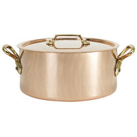 De Buyer 6447.16 1.9 Qt. Copper Sauce Pot / Stew Pan with Handles and Lid