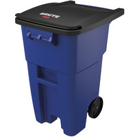 Rubbermaid FG9W2700 BLUE Brute 50 Gallon Blue Rollout Trash Container with Lid