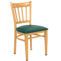 Lancaster Table & Seating Spartan Series Metal Slat Back Chair with Natural Wood Grain Finish and Green Vinyl Seat