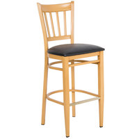 Lancaster Table & Seating Spartan Series Bar Height Metal Slat Back Chair with Natural Wood Grain Finish and Black Vinyl Seat