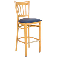 Lancaster Table & Seating Spartan Series Bar Height Metal Slat Back Chair with Natural Wood Grain Finish and Navy Vinyl Seat