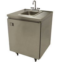 Advance Tabco SHK-MSC-31CH 31 inch Portable Self-Contained Stainless Steel Hand Sink Cart with Deck Mount Faucet and Hot Water Heater