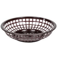 Brown 8 inch Round Plastic Fast Food Basket - 12 / Case