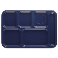 Cambro 10146CW186 Camwear 10 inch x 14 1/2 inch Navy Blue 6 Compartment Serving Tray - 24/Case