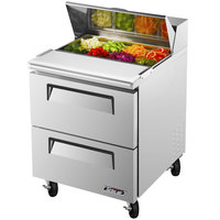 Turbo Air TST-28SD-D2 28 inch Super Deluxe Two Drawer Stainless Steel Standard Top Refrigerated Salad / Sandwich Prep Table
