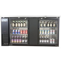 Avantco UBB-3G 69 inch Glass Door Back Bar Cooler with Stainless Steel Top and LED Lighting