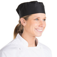 Chef Revival H008-R 20 inch-22 inch Black Poly-Cotton Blend Pill Box Chef Hat