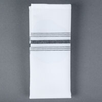 Snap Drape NAPFSBLK Farm Stripe 18 inch x 22 inch Black Striped Cloth Napkin - 12/Pack