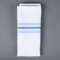 Snap Drape NAPFSBLU Farm Stripe 18 inch x 22 inch Blue Striped Cloth Napkin - 12/Pack