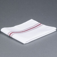 Marko 53771822NH023 Softweave Bistro 18 inch x 22 inch Maroon Striped Napkin - 12 / Pack