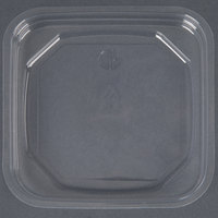 D&W Fine Pack SDIFPLAC1 FreshServe Square PLA Biodegradable / Compostable Plastic Clear Deli Container Lid - 50/Pack