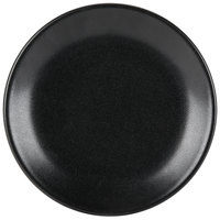 Hall China 303050AFCA Foundry 7 1/8 inch Black Ceramic Round Coupe Plate - 12 / Case