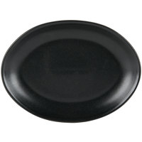 Hall China 303120AFCA Foundry 10 5/8 inch x 7 3/4 inch Black Ceramic Oval Platter - 12 / Case