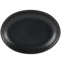 Hall China 303130AFCA Foundry 11 1/2 inch x 8 1/2 inch Black Ceramic Oval Platter - 12/Case