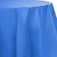 Creative Converting 703258 82 inch True Blue OctyRound Disposable Plastic Table Cover