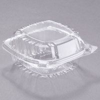 Dart Solo C53PST1 5 3/8 inch x 5 1/4 inch x 2 5/8 inch ClearSeal Clear Hinged Lid Plastic Container - 125/Pack