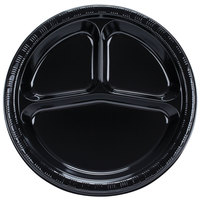 Creative Converting 019260 10 inch 3 Compartment Black Velvet Plastic Banquet Plate - 20 / Pack