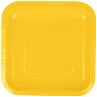 Creative Converting 453269 7 inch School Bus Yellow Square Paper Plate - 18 / Pack
