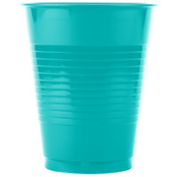 Creative Converting 28111081 16 oz. Tropical Teal Plastic Cup - 20 / Pack