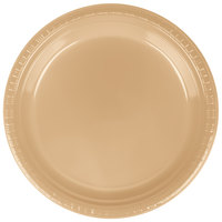 Creative Converting 28103021B 9 inch Glittering Gold Plastic Dinner Plate - 50 / Pack