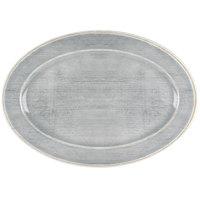 Carlisle 6402018 Grove 12 inch x 8 inch Smoke Oval Melamine Platter - 12/Case