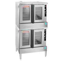 Blodgett ZEPHAIRE-100-G-ES Double Deck Full Size Standard Depth Gas Convection Oven with Draft Diverter - 90,000 BTU