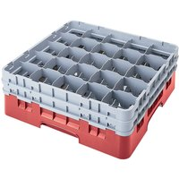 Cambro 25S418163 Camrack 4 1/2 inch High Red 25 Compartment Glass Rack