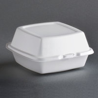 Dart Solo 60HT1 6 inch x 6 inch x 3 inch White Foam Hinged Lid Container 125 / Pack