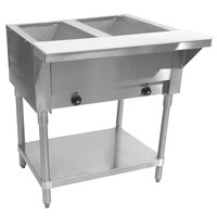 Advance Tabco SW-2E-T Two Pan Electric Hot Food Table with Thermostatic Control and Undershelf - Sealed Well, 208/240V
