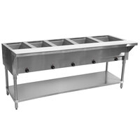 Advance Tabco SW-5E-T Five Pan Electric Hot Food Table with Thermostatic Control and Undershelf - Sealed Well